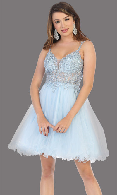 Mayqueen Mq1693 short baby blue flowy v neck beaded sequin grade 8 graduation dress w/straps & puffy skirt. This light blue party dress is perfect for prom, graduation, grade 8 grad, confirmation dress, bat mitzvah dress, damas. Plus sizes avail.jpg