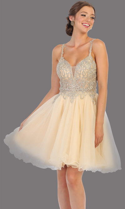 Mayqueen Mq1693 short champagne gold flowy v neck beaded sequin grade 8 graduation dress w/straps & puffy skirt. This light gold party dress is perfect for prom, graduation, grade 8 grad, confirmation dress, bat mitzvah dress, damas. Plus sizes avail.jpg