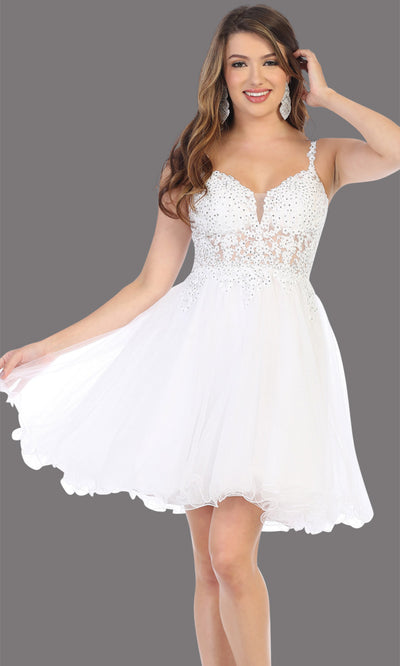 Mayqueen Mq1693 short white flowy v neck beaded sequin grade 8 graduation dress w/straps & puffy skirt. This white party dress is perfect for prom, graduation, grade 8 grad, confirmation dress, bat mitzvah dress, damas. Plus sizes avail.jpg