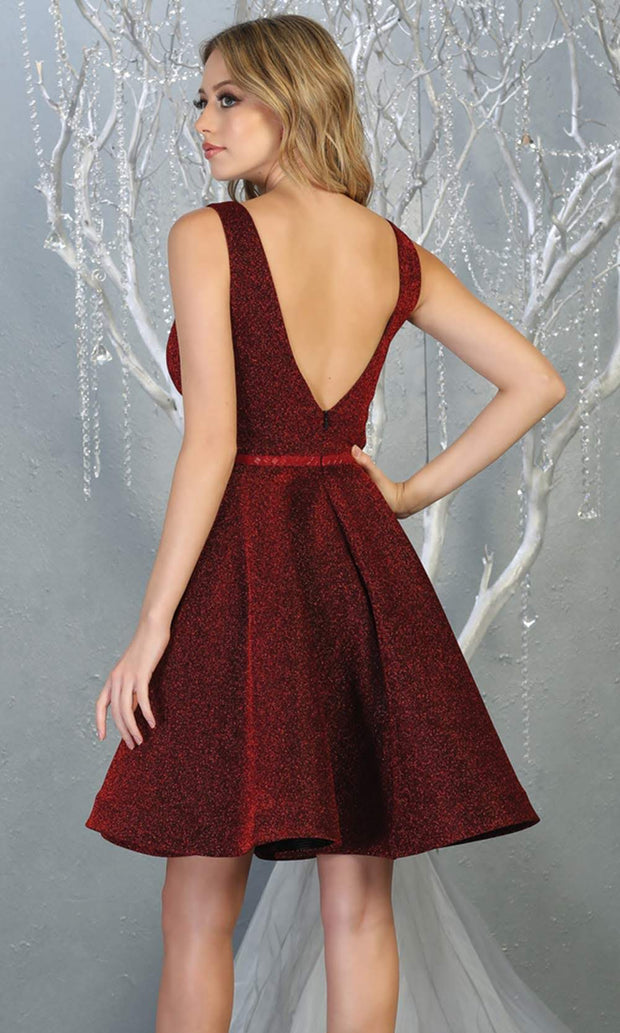 Mayqueen Mq1696 short v neck burgundy red flowy glittery grade 8 graduation dress. This dark red shiny party dress is perfect for prom, graduation, grade 8 grad, confirmation dress, bat mitzvah dress, damas. Plus sizes avail-b.jpg