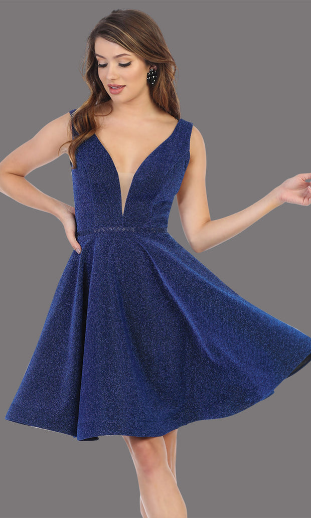 Mayqueen Mq1696 short v neck navy blue flowy glittery grade 8 graduation dress. This dark blue shiny party dress is perfect for prom, graduation, grade 8 grad, confirmation dress, bat mitzvah dress, damas. Plus sizes avail.jpg