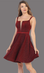 Mayqueen Mq1697 short v neck burgundy red flowy glittery grade 8 graduation dress. This dark red shiny party dress is perfect for prom, graduation, grade 8 grad, confirmation dress, bat mitzvah dress, damas. Plus sizes avail