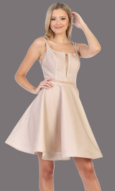 Mayqueen Mq1697 short v neck champgane flowy glittery grade 8 graduation dress. This champagne shiny party dress is perfect for prom, graduation, grade 8 grad, confirmation dress, bat mitzvah dress, damas. Plus sizes avail