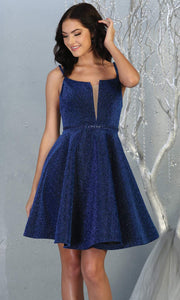 Mayqueen Mq1697 short v neck royal blue flowy glittery grade 8 graduation dress. This royal blue shiny party dress is perfect for prom, graduation, grade 8 grad, confirmation dress, bat mitzvah dress, damas. Plus sizes avail.jpg