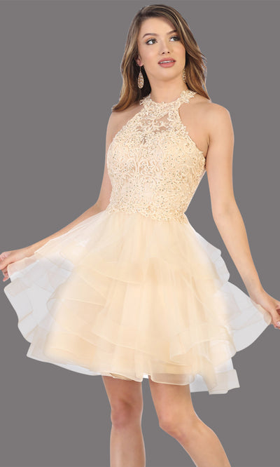 Mayqueen Mq1700 short champagne flowy high neck beaded sequin grade 8 graduation dress w/3 tier puffy skirt skirt. Light gold party dress is perfect for prom, graduation, grade 8 grad, confirmation dress, bat mitzvah dress, damas. Plus sizes avail.jpg