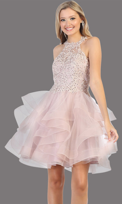Mayqueen Mq1700 short mauve flowy high neck beaded sequin grade 8 graduation dress w/3 tier puffy skirt skirt. Dusty rose party dress is perfect for prom, graduation, grade 8 grad, confirmation dress, bat mitzvah dress, damas. Plus sizes avail.jpg