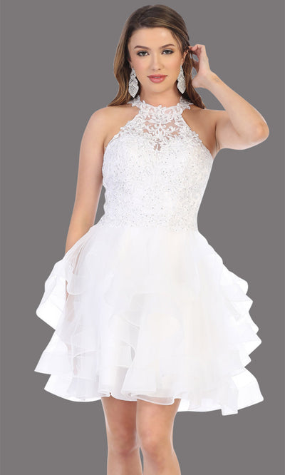 Mayqueen Mq1700 short white flowy high neck beaded sequin grade 8 graduation dress w/3 tier puffy skirt skirt. White party dress is perfect for prom, graduation, grade 8 grad, confirmation dress, bat mitzvah dress, damas. Plus sizes avail.jpg