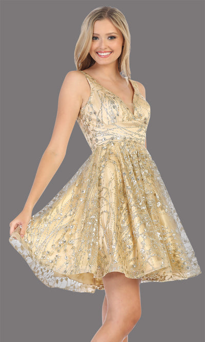 Mayqueen Mq1702 short v neck champagne flowy glittery grade 8 graduation dress. This light gold shiny party dress with wide straps is perfect for prom, graduation, grade 8 grad, confirmation dress, bat mitzvah dress, damas. Plus sizes avail.jpg