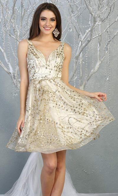 Mayqueen Mq1702 short v neck ivory gold flowy glittery grade 8 graduation dress. This ivory gold shiny party dress with wide straps is perfect for prom, graduation, grade 8 grad, confirmation dress, bat mitzvah dress, damas. Plus sizes avail.jpg