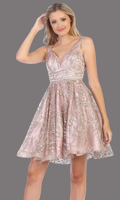 Mayqueen Mq1702 short v neck mauve pink flowy glittery grade 8 graduation dress. This dusty rose shiny party dress with wide straps is perfect for prom, graduation, grade 8 grad, confirmation dress, bat mitzvah dress, damas. Plus sizes avail