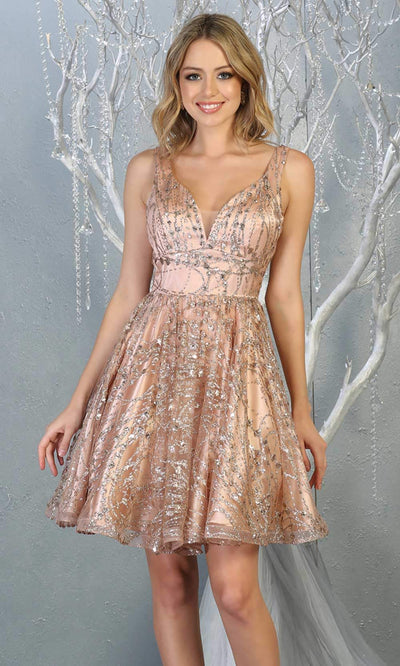 Mayqueen Mq1702 short v neck rose gold flowy glittery grade 8 graduation dress. This rose gold shiny party dress with wide straps is perfect for prom, graduation, grade 8 grad, confirmation dress, bat mitzvah dress, damas. Plus sizes avail.jpg