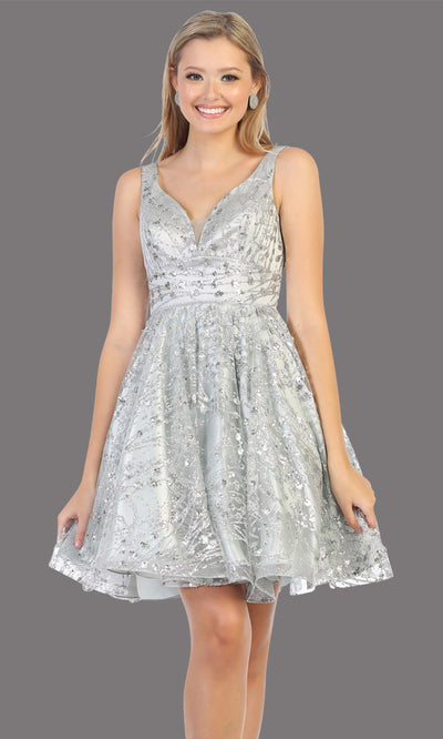 Mayqueen Mq1702 short v neck silver flowy glittery grade 8 graduation dress. This light grey shiny party dress with wide straps is perfect for prom, graduation, grade 8 grad, confirmation dress, bat mitzvah dress, damas. Plus sizes avail.jpg