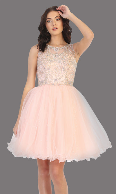 Mayqueen Mq1726 short blus pink flowy high neck beaded grade 8 graduation dress w/ puffy skirt. This light pink party dress is perfect for prom, graduation, grade 8 grad, confirmation dress, bat mitzvah dress, damas. Plus sizes avail.jpg