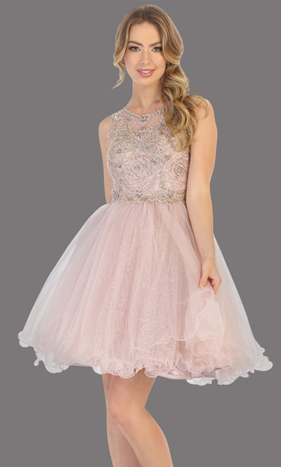 Mayqueen Mq1726 short mauve flowy high neck beaded grade 8 graduation dress w/ puffy skirt. This dusty rose party dress is perfect for prom, graduation, grade 8 grad, confirmation dress, bat mitzvah dress, damas. Plus sizes avail.jpg