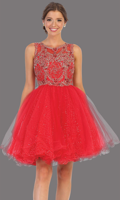 Mayqueen Mq1726 short red flowy high neck beaded grade 8 graduation dress w/ puffy skirt. This red party dress is perfect for prom, graduation, grade 8 grad, confirmation dress, bat mitzvah dress, damas. Plus sizes avail.jpg