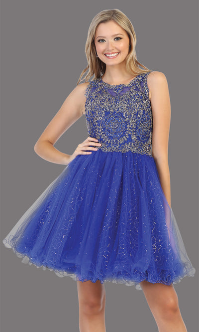 Mayqueen Mq1726 short royal blue flowy high neck beaded grade 8 graduation dress w/ puffy skirt. This royal blue party dress is perfect for prom, graduation, grade 8 grad, confirmation dress, bat mitzvah dress, damas. Plus sizes avail.jpg
