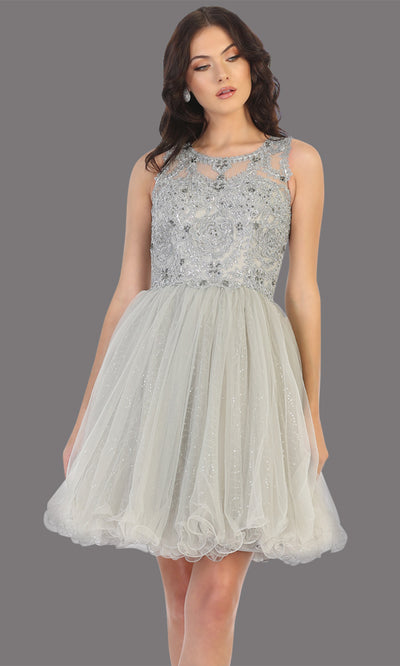 Mayqueen Mq1726 short silver flowy high neck beaded grade 8 graduation dress w/ puffy skirt. This light gray party dress is perfect for prom, graduation, grade 8 grad, confirmation dress, bat mitzvah dress, damas. Plus sizes avail.jpg