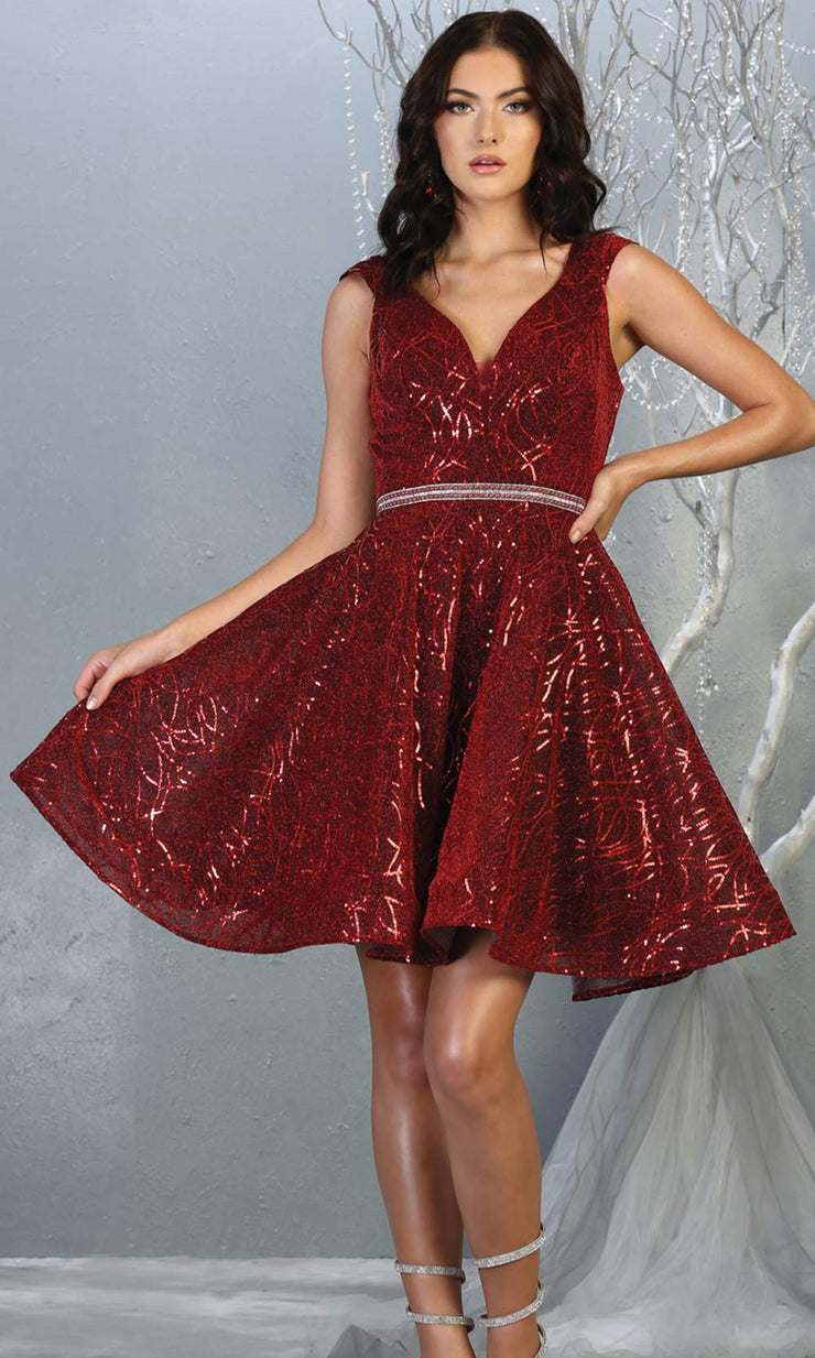 Mayqueen Mq1742 short burgundy red flowy v neck glittery sequin grade 8 graduation dress w/ straps. This dark red party dress is perfect for prom, graduation, grade 8 grad, confirmation dress, bat mitzvah dress, damas. Plus sizes avail.jpg