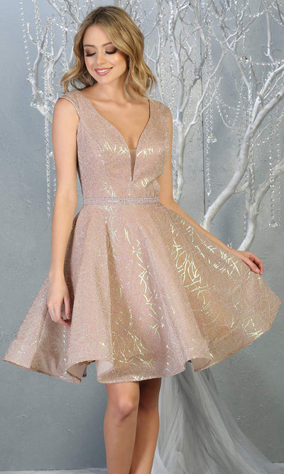 Mayqueen Mq1742 short rose gold flowy v neck glittery sequin grade 8 graduation dress w/ straps. This rose gold party dress is perfect for prom, graduation, grade 8 grad, confirmation dress, bat mitzvah dress, damas.Plus sizes avail for grad dress.jpg