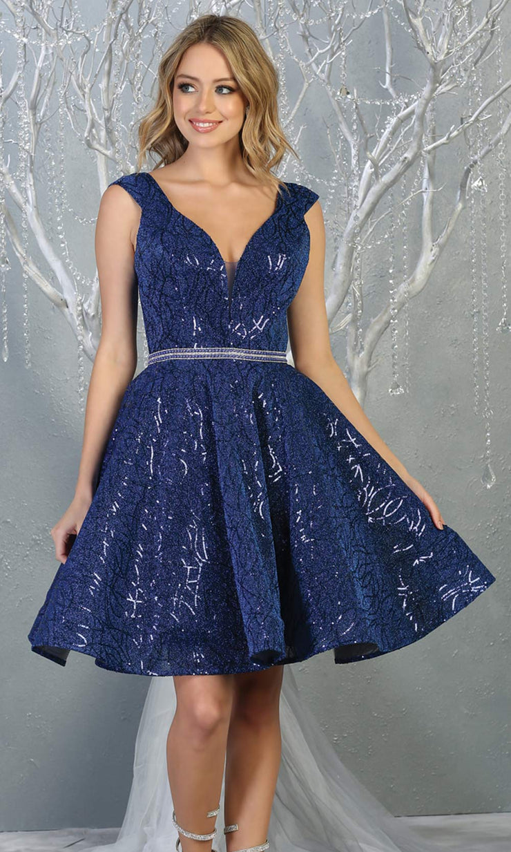 Mayqueen Mq1742 short royal blue flowy v neck glittery sequin grade 8 graduation dress w/ straps. This royal blue party dress is perfect for prom, graduation, grade 8 grad, confirmation dress, bat mitzvah dress, damas.Plus sizes avail for grad dress.jpg