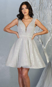 Mayqueen Mq1742 short silver grey flowy v neck glittery sequin grade 8 graduation dress w/ straps. This light gray party dress is perfect for prom, graduation, grade 8 grad, confirmation dress, bat mitzvah dress, damas.Plus sizes avail for grad dress.jpg