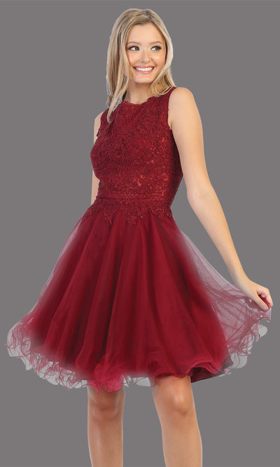 Mayqueen Mq1751 short burgundy red flowy high neck beaded grade 8 graduation dress w/ puffy skirt. This dark red party dress is perfect for prom, graduation, grade 8 grad, confirmation dress, bat mitzvah dress, damas. Plus sizes avail.jpg