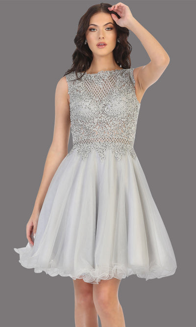 Mayqueen Mq1751 short silver grey flowy high neck beaded grade 8 graduation dress w/ puffy skirt. This light gray party dress is perfect for prom, graduation, grade 8 grad, confirmation dress, bat mitzvah dress, damas. Plus sizes avail.jpg