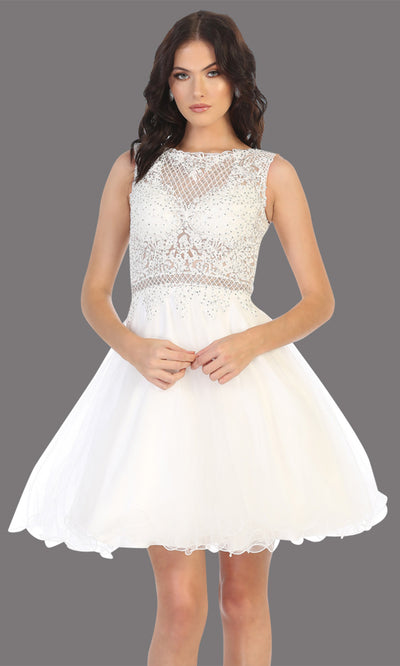 Mayqueen Mq1751 short white flowy high neck beaded grade 8 graduation dress w/ puffy skirt. This white party dress is perfect for prom, graduation, grade 8 grad, confirmation dress, bat mitzvah dress, damas. Plus sizes avail.jpg