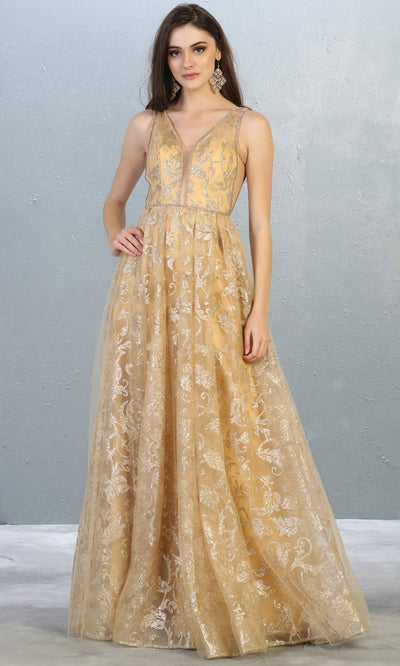 Mayqueen RQ7769 long champagne v neck flowy tulle skirt dress w/wide straps. Perfect for prom, engagement dress, e-shoot dress, formal wedding guest dress, debut, quinceanera, sweet 16, gala. Plus sizes avail in this light gold semi ballgown.jpg