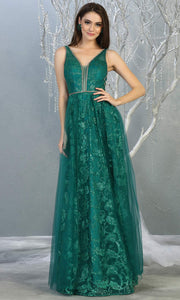 Mayqueen RQ7769 long jade green v neck flowy tulle skirt dress w/wide straps. Perfect for prom, engagement dress, e-shoot dress, formal wedding guest dress, debut, quinceanera, sweet 16, gala. Plus sizes avail in this dark green semi ballgown.jpg