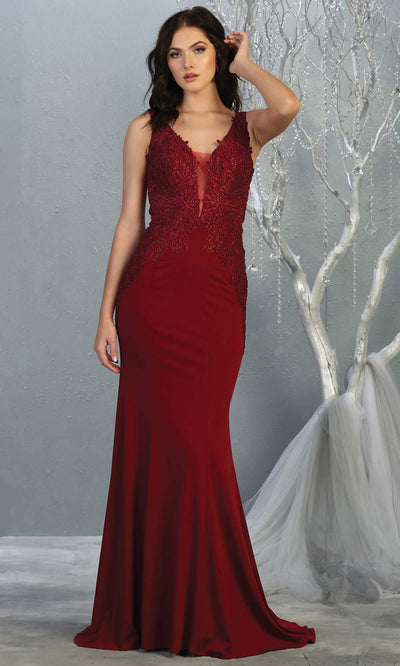 Mayqueen RQ7771 long burgundy red v neck evening fitted dress w/low back & wide strap. Full length dark red gown is perfect for  enagagement/e-shoot dress, formal wedding guest, indowestern gown, evening party dress, prom, bridesmaid. Plus sizes avail.jpg