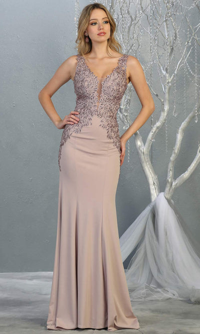 Mayqueen RQ7771 long mauve v neck evening fitted dress w/low back & wide strap. Full length dusty rose gown is perfect for  enagagement/e-shoot dress, formal wedding guest, indowestern gown, evening party dress, prom, bridesmaid. Plus sizes avail.jpg