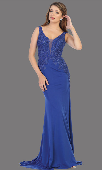 Mayqueen RQ7771 long royal blue v neck evening fitted dress w/low back & wide strap. Full length royal blue gown is perfect for  enagagement/e-shoot dress, formal wedding guest, indowestern gown, evening party dress, prom, bridesmaid. Plus sizes avail.jpg