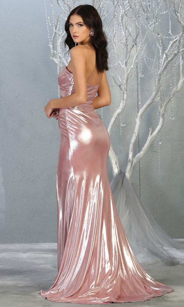 Mayqueen RQ7774 long dusty rose strapless evening fitted metallic dress w/high slit. Full length pink gown is perfect for  enagagement/e-shoot dress, formal wedding guest, indowestern gown, evening party dress, prom, bridesmaid. Plus sizes avail-b.jpg