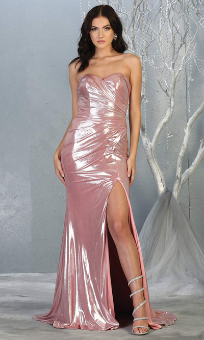 Mayqueen RQ7774 long dusty rose strapless evening fitted metallic dress w/high slit. Full length pink gown is perfect for  enagagement/e-shoot dress, formal wedding guest, indowestern gown, evening party dress, prom, bridesmaid. Plus sizes avail.jpg