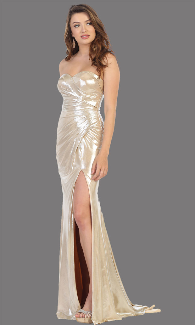 Mayqueen RQ7774 long gold strapless evening fitted metallic dress w/high slit. Full length gold gown is perfect for  enagagement/e-shoot dress, formal wedding guest, indowestern gown, evening party dress, prom, bridesmaid. Plus sizes avail-b.jpg