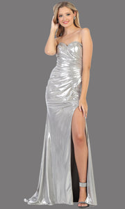 Mayqueen RQ7774 long silver strapless evening fitted metallic dress w/high slit. Full length light grey gown is perfect for  enagagement/e-shoot dress, formal wedding guest, indowestern gown, evening party dress, prom, bridesmaid. Plus sizes avail.jpg