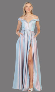 Mayqueen RQ7775 long light blue off shoulder flowy metallic dress. Perfect baby blue dress for prom, engagement dress, e-shoot dress, formal wedding guest dress, debut, quinceanera, sweet 16, gala. Plus sizes avail in this light blue semi ballgown.jpg