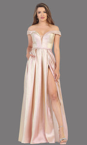 Mayqueen RQ7775 long rose gold off shoulder flowy metallic dress. Perfect rose gold dress for prom, engagement dress, e-shoot dress, formal wedding guest dress, debut, quinceanera, sweet 16, gala. Plus sizes avail in this light blue semi ballgown.jpg