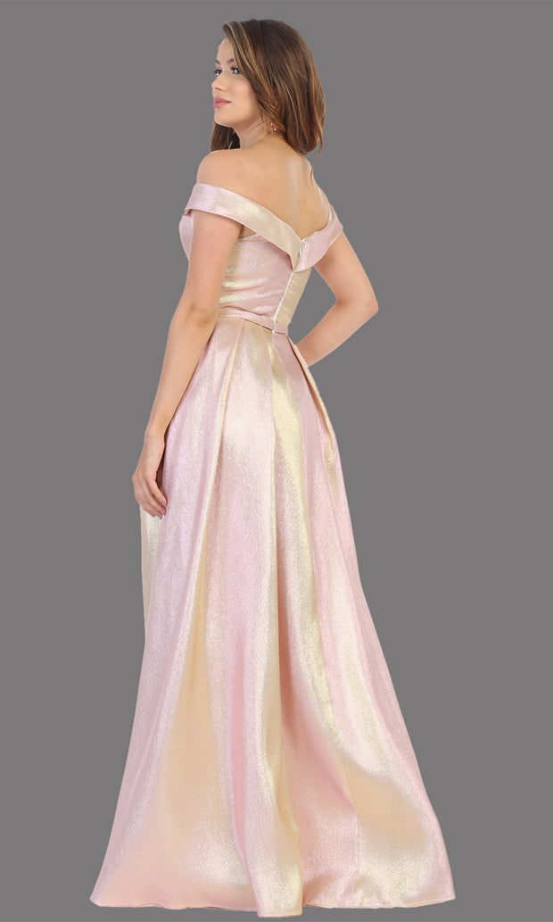 Mayqueen RQ7775 long rose gold off shoulder flowy metallic dress. Perfect rose gold dress for prom, engagement dress, e-shoot dress, formal wedding guest dress, debut, quinceanera, sweet 16, gala. Plus sizes avail in this light blue semi ballgown-b.jpg