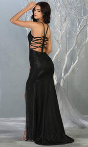 Mayqueen RQ7776-Long Black dress with open back & high slit-b.jpg