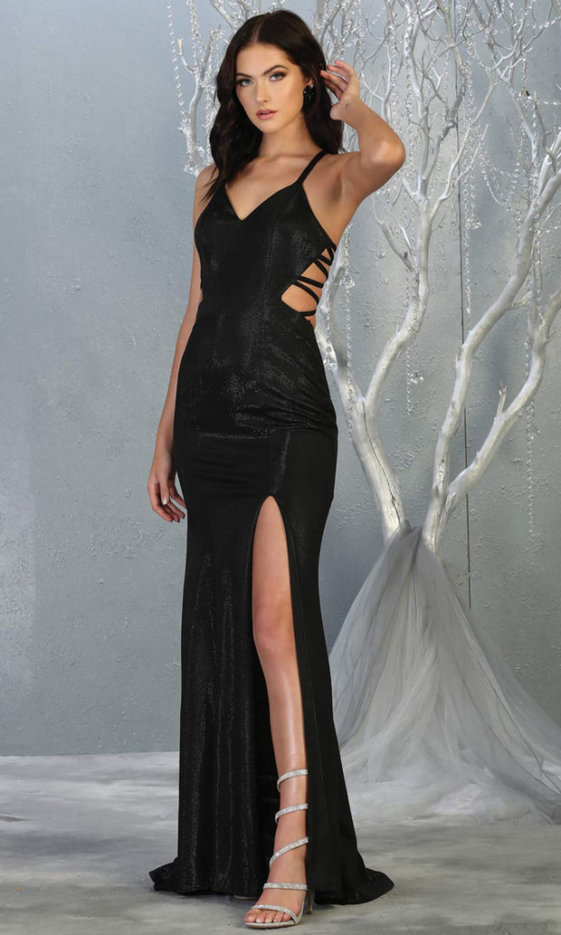 Mayqueen RQ7776-Long Black dress with open back & high slit.jpg