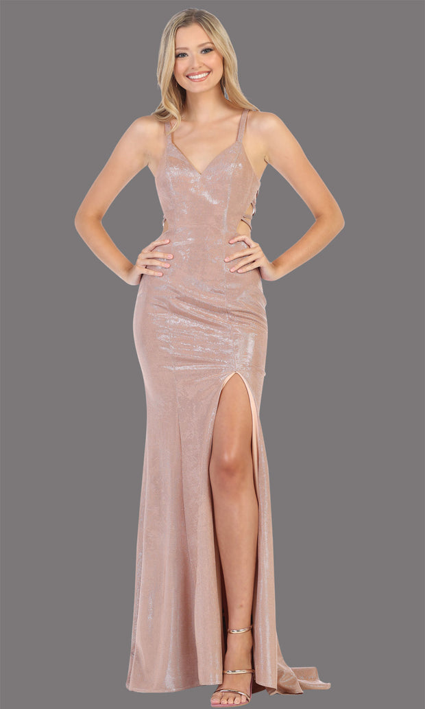 Mayqueen RQ7776-Long rose gold dress with open back & high slit.jpg