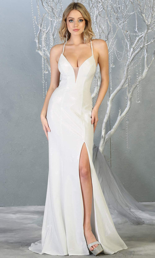 Mayqueen RQ7777-long white wedding dress w/ v neck, high slit & open back. Long white formal dress is perfect for wedding bridal dress, white prom dress, simple wedding, second wedding, destination wedding dress, cheap wedding dress. Plus sizes avail.jpg