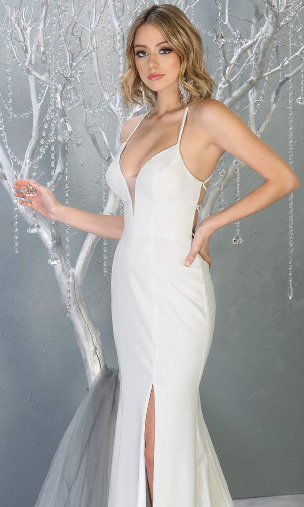 Mayqueen RQ7777-long white wedding dress w/ v neck, high slit & open back. Long white formal dress is perfect for wedding bridal dress, white prom dress, simple wedding, second wedding, destination wedding dress, cheap wedding dress.Plus sizes avail-c.jpg