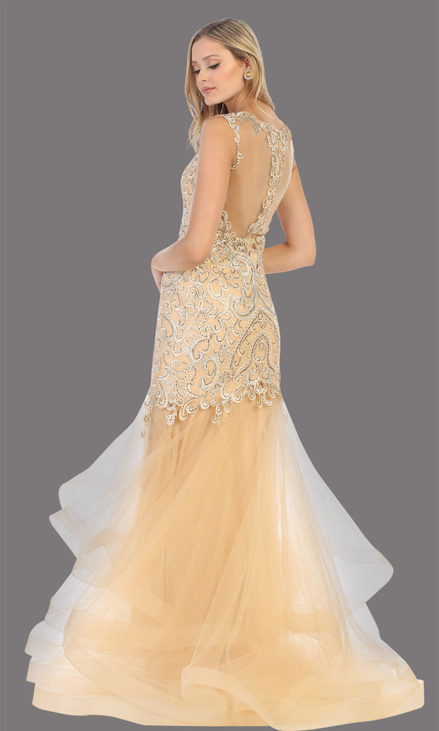 Mayqueen RQ7778 long gold high neck shoulder mermaid sequin dress. Full length gown is perfect for  enagagement/e-shoot dress, formal wedding guest, indowestern gown, evening party dress, prom, bridesmaid. Plus sizes avail-b.jpg
