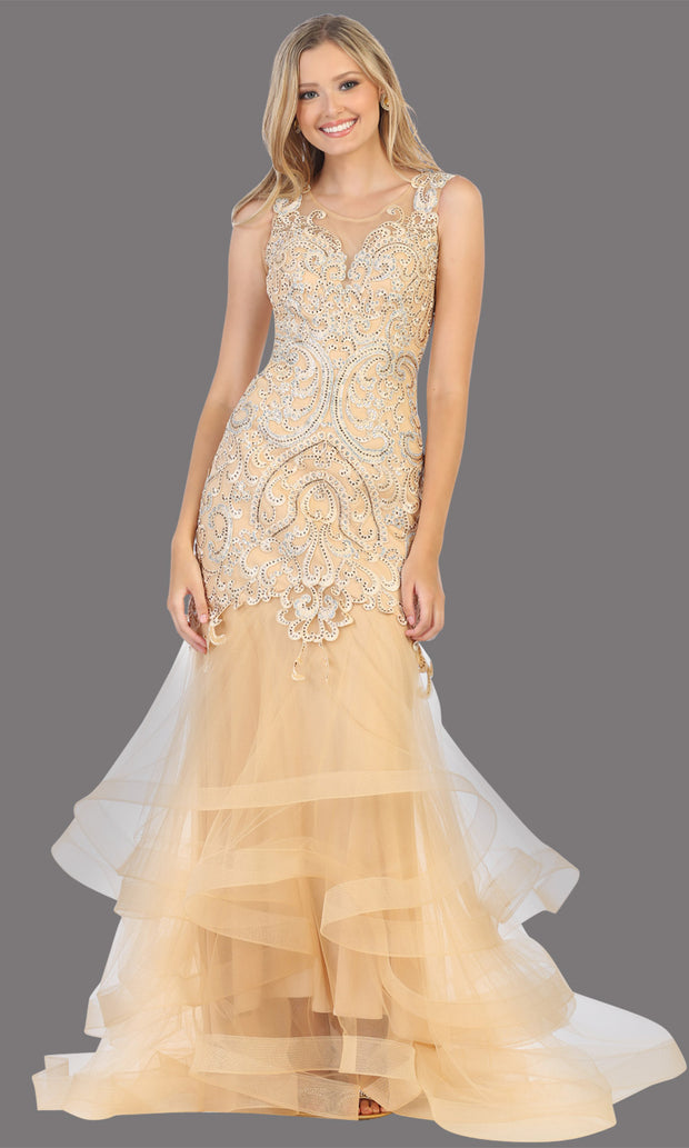 Mayqueen RQ7778 long gold high neck shoulder mermaid sequin dress. Full length gown is perfect for  enagagement/e-shoot dress, formal wedding guest, indowestern gown, evening party dress, prom, bridesmaid. Plus sizes avail.jpg