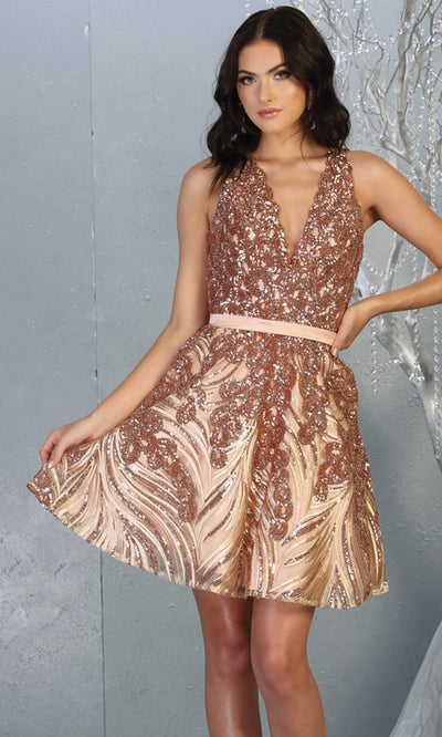 Mayqueen RQ7779 short rose gold sequin flowy vneck grade 8 graduation dress w/ straps & puffy skirt. Light gold party dress is perfect for prom, graduation, grade 8 grad, confirmation dress, bat mitzvah dress, damas. Plus sizes avail for grad dress.jpg