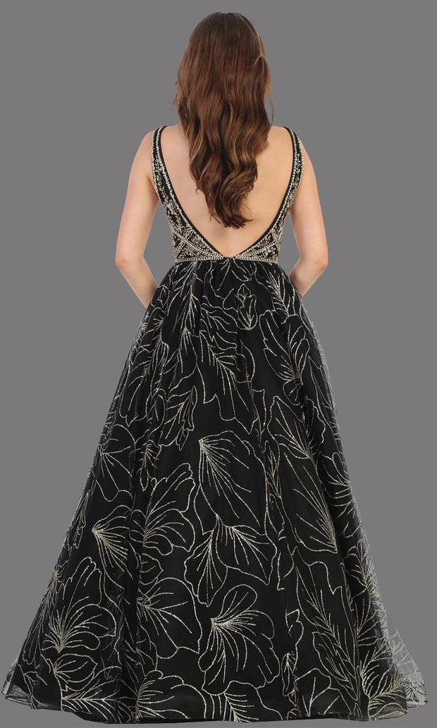 Mayqueen RQ7780 long black v neck flowy sequin dress. Full length black gown is perfect for  enagagement/e-shoot dress, formal wedding guest, indowestern gown, evening party dress, prom, bridesmaid. Plus sizes avail-b.jpg