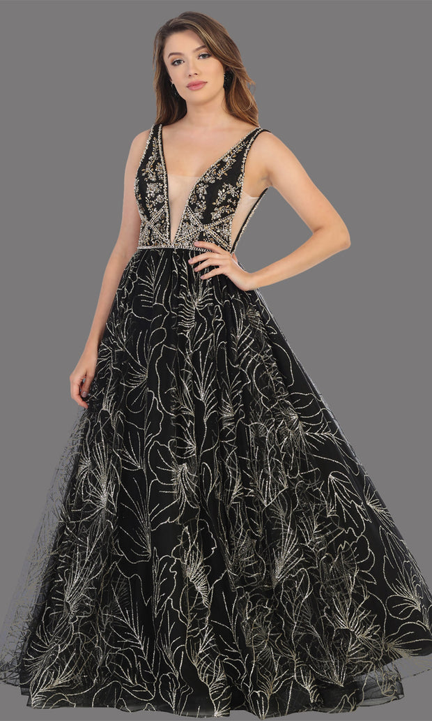 Mayqueen RQ7780 long black v neck flowy sequin dress. Full length black gown is perfect for  enagagement/e-shoot dress, formal wedding guest, indowestern gown, evening party dress, prom, bridesmaid. Plus sizes avail.jpg